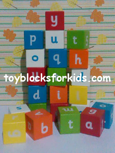 Alphabet wooden building blocks for kids